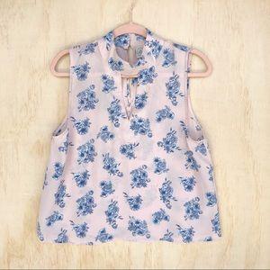 paper crane floral choker blouse